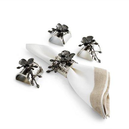 Фото - Набор колец для салфеток Черная орхидея, 8.5 см, 4 шт, серебристые MAR110834 Michael Aram подставка для салфеток черная орхидея 20 см черная mar110825 michael aram