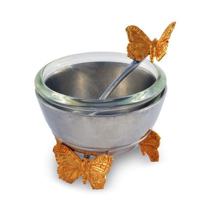 Солонка с ложкой Садовые друзья.Золотые бабочки, 6 см