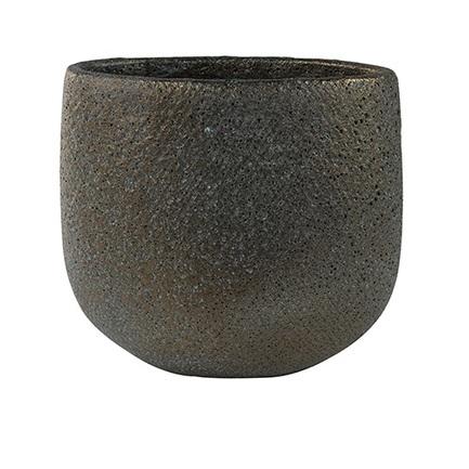 Кашпо керамическое Eva Овал, 27х17х24 см, голубое/золотое