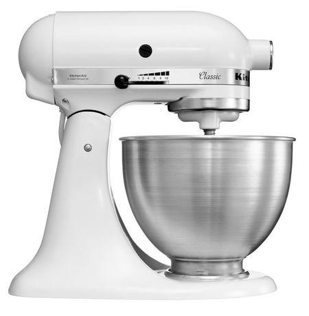 KitchenAid Миксер планетарный бытовой, дежа (4.28 л), 3 насадки, белый