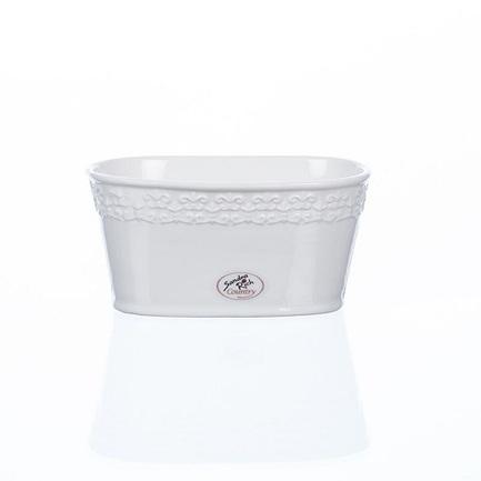 Кашпо керамическое, 13х9х6.5 см, белое