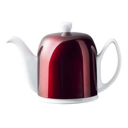 Чайник заварочный на 6 чашек Salam White (1 л), белый с крышкой красного цвета