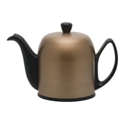 Чайник заварочный на 6 чашек Salam Mat Black (1 л), черный с крышкой бронзового цвета