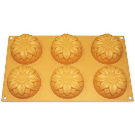 Silikomart Форма Подсолнухи, 7.6 см, 6 шт., оранжевая, в подарочной упаковке silikomart форма подсолнух 26см оранжевый в подарочной упаковке