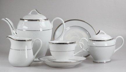 Сервиз чайный на 12 персон, серебристый, 41 пр.