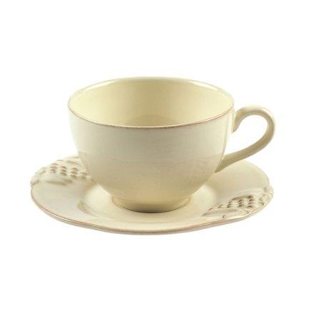 Costa Nova Чайная пара Mediterranea (250 мл), кремовая, покрытие глазурь MCS01-00201I Costa Nova costa nova чайная пара friso серая fics01 04807q costa nova