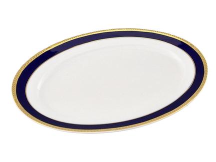 Leander Блюдо овальное Сабина Сине-золотая лента, 35 см