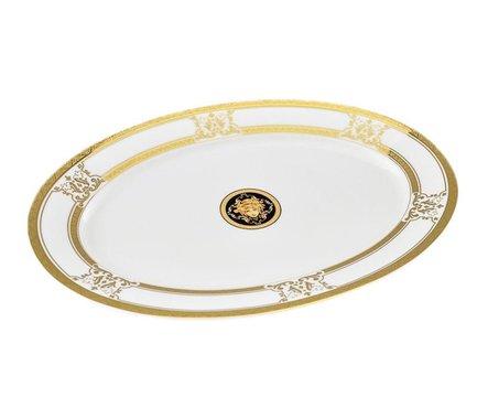 Leander Блюдо овальное Сабина Золото Версаче, 35 см 02111523-A126 Leander tanite victoir platineatine 1489 блюдо овальное 35 см цвет белый с платиной