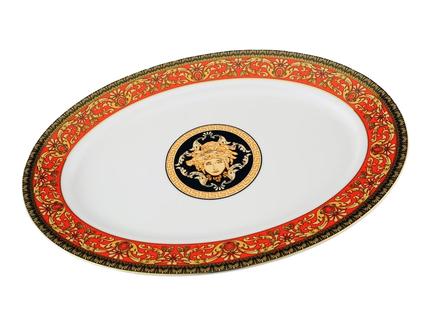 Leander Блюдо овальное Сабина Красная лента Версаче, 35 см 02111523-B979 Leander tanite victoir platineatine 1489 блюдо овальное 35 см цвет белый с платиной