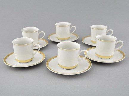 Leander Набор чашек Сабина Изящное золото (0.15 л) с блюдцами, 6 шт.