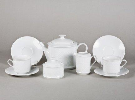Leander Сервиз чайный Сабина Белоснежный рельеф, 15 пр. 02160725-2326 Leander сервиз чайный 15предм форма сабина 1013 фарфор leander 654687