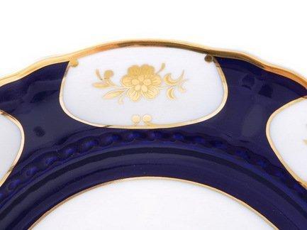 Leander Тарелка для торта с ручками Соната Темно-синий орнамент с золотом, 26 см 07116024-0443