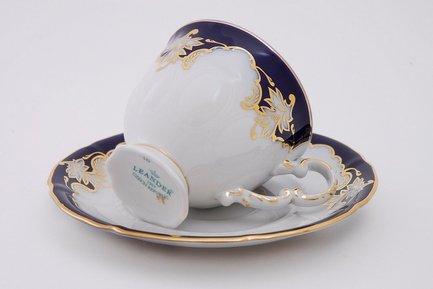 Leander Набор чашек высоких Соната Темно-синяя окантовка с золотом (0.15 л) с блюдцами, 6 шт.