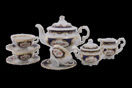 Фото - Сервиз чайный Соната Темно-синий орнамент с розами, 15 пр. 07160725-0440 Leander сервиз чайный соната темно синий орнамент с розами 15 пр 07160725 0440 leander