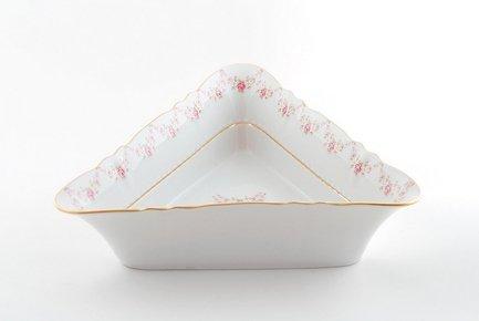 Leander Салатник треугольный Соната Розовая нить, 21 см 07111433-0158 Leander салатник треугольный кунстверк фарфор 220мл h 4 l 16 5 b 16 5см белый