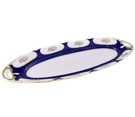 Leander Блюдо овальное Соната Элегантный орнамент, 55.5 см 07111518-0419 Leander leander тарелка глубокая соната темно синий орнамент с розами 23 см