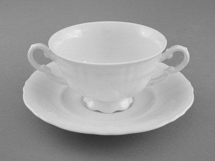 Leander Чашка для супа Соната Белоснежная классика (0.35 л) с блюдцем
