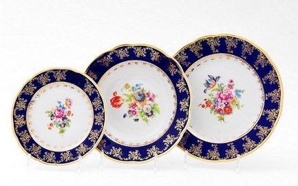 Leander Набор тарелок Мэри-Энн Темно-синяя окантовка с цветами, 18 пр.