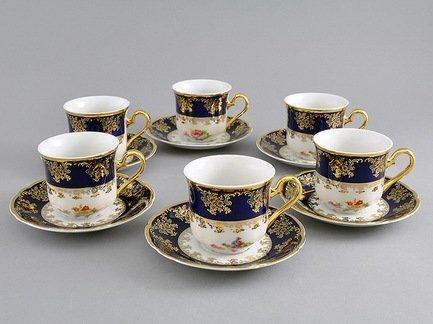 Leander Набор чашек высоких Мэри-Энн (0.15 л), с блюдцами, 6 шт. 03160414-0086 Leander