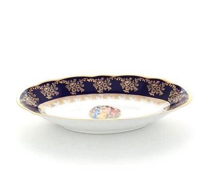 Блюдо овальное Мэри-Энн Темно-синяя окантовка с пасторалью, 23 см 03111726-0179 Leander