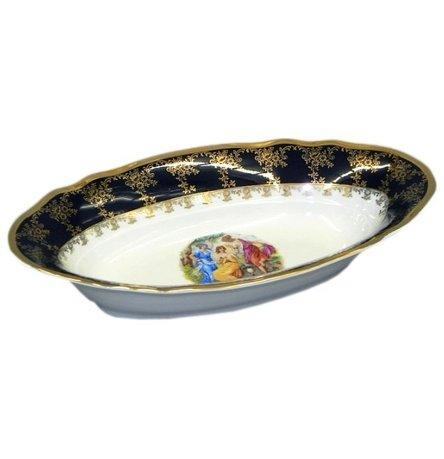 Корзина для хлеба Мэри-Энн Темно-синяя окантовка с пасторалью, 33 см от Superposuda
