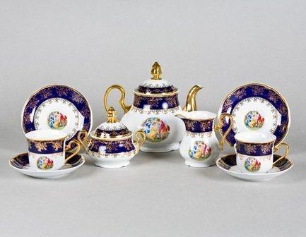 Leander Сервиз чайный Мэри-Энн Темно-синяя окантовка с пасторалью, 15 пр. 03160725-0179 Leander leander сервиз чайный мэри энн кантри 15 пр