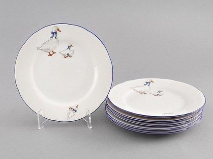Leander Набор тарелок мелких Гуси, 19 см, 6 шт. 03160319-0807 Leander набор одноразовых тарелок эврика с пламенным приветом диаметр 19 см 6 шт