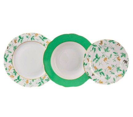 Набор тарелок Мэри-Энн Зелень и золото, 18 пр. 03160119-1381 Leander набор тарелок мелких мэри энн зелень и золото 6 шт 03160115 1381 leander