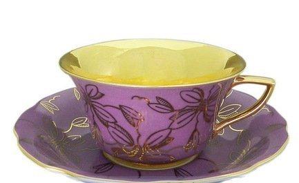 Leander Чашка низкая Виндзор (0.15 л) с блюдцем, фуксия