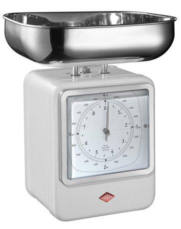 Wesco Кухонные весы-часы Retro Style, белые 322204-01 Wesco