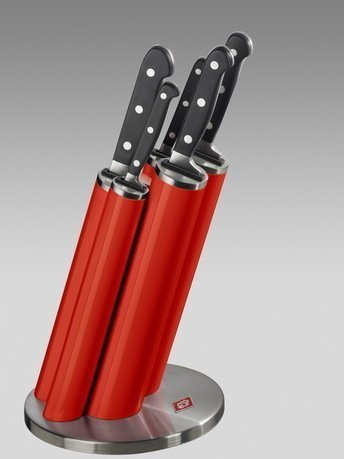Wesco Набор ножей Pipe в подставке, красный, 5 пр. (322691-02) 322691-02 Wesco набор кухонных ножей квартет кизляр