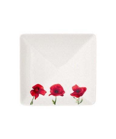 Guy Degrenne Тарелка квадратная Vent De Coquelicot Red, 12 см 154180 Guy Degrenne guy degrenne блюдо овальное ouliveiro porcelaine веточки 36 см 127713 guy degrenne