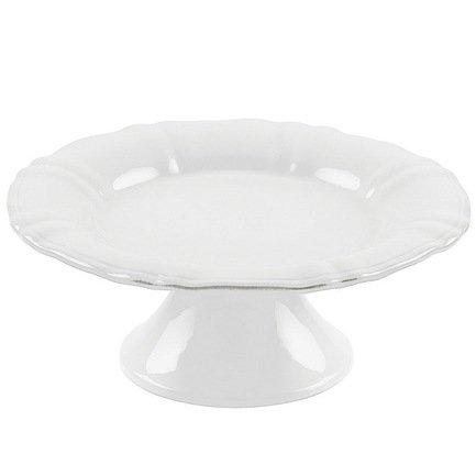 Тарелка на ножке Village, 22x12 см, белая, покрытие глазурь