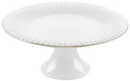 Тарелка на ножке Village, 28x12 см, белая, покрытие глазурь