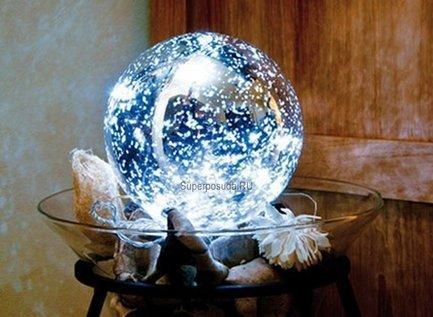 Globall Concept Серебряный стекляный шар Glasslight LED, 15 см, 10 белых LED GLL-LED-BAUBLE-014-W Globall Concept