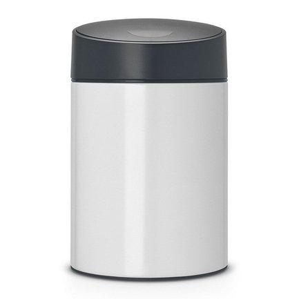 Brabantia Ведро для мусора с крышкой Slide (5 л), 32.5х20.5х22 см, белое