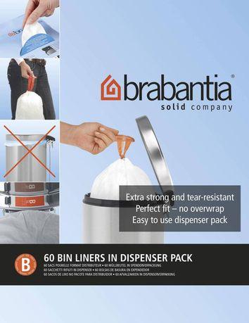 Brabantia Пакет пластиковый, размер B (5 л), белый, 60 шт., в упаковке 348969 Brabantia цены онлайн