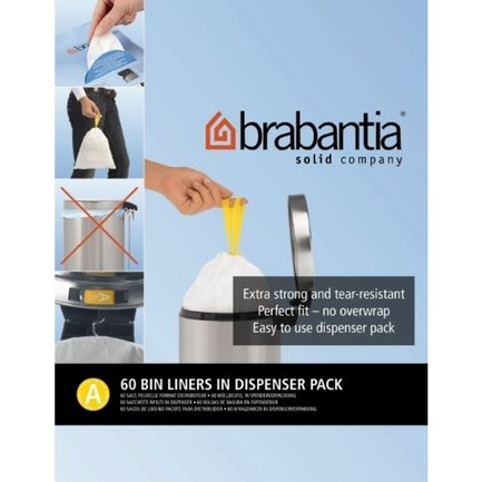 Brabantia Пакет пластиковый, размер A (3 л), белый, 60 шт., в упаковке-дозаторе 348983