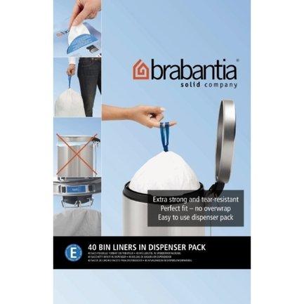 Brabantia Пакет пластиковый, размер E (20 л), белый, 40 шт., в упаковке-дозаторе 362002