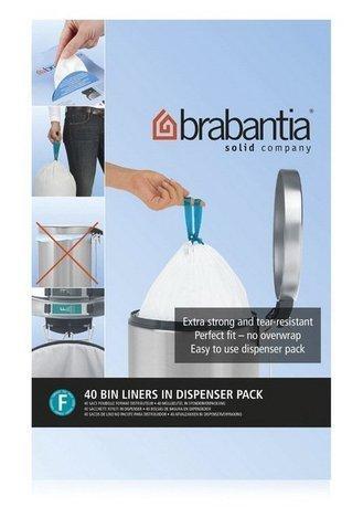 Brabantia Пакет пластиковый высокий, размер F (20 л), белый, 40 шт., в упаковке-дозаторе 375644