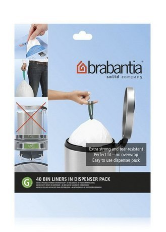 Brabantia Пакет пластиковый, размер G (23/30 л), белый, 40 шт., с дозатором 375668 Brabantia пакет пластиковый 20 л 40 шт 1057005