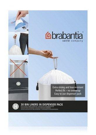 Brabantia Пакет пластиковый, размер H (40/50 л), белый, 30 шт., в упаковке-дозаторе 375705