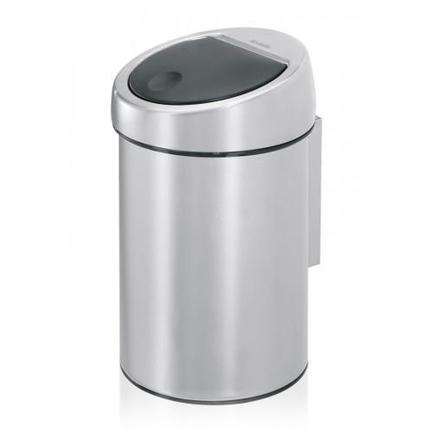 Brabantia Ведро для мусора TOUCH BIN (3 л), 18.5х28 см, матовое стальное 363986 Brabantia ведро для мусора 10 л brabantia touch bin 477225 матовая сталь