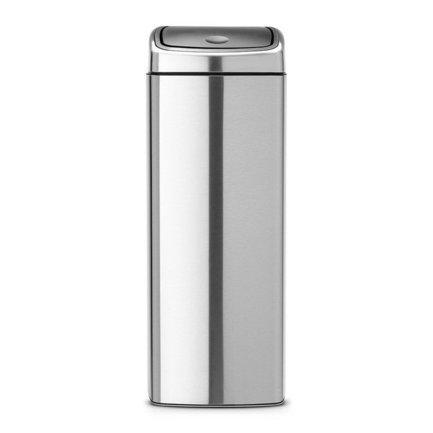 Brabantia Мусорный бак Touch Bin прямоугольный (25 л), 72.5х26.5х26.5 см, матовый стальной, с защитой от отпечатков пальцев 384929