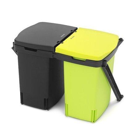 Brabantia Ведро для мусора двухсекционное (2х10 л) встраиваемое, 31.5х28х42.3 см, черное бак из нержавейки купить 250 л