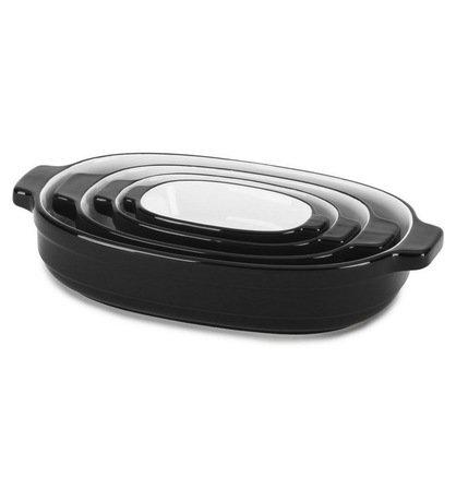 KitchenAid Набор керамических кастрюль (0.5 л, 0.9 л, 1.8 л, 3.3 л), черные, 4 шт. kitchenaid набор круглых чаш для запекания смешивания 1 4 л 1 9 л 2 8 л 3 шт черные