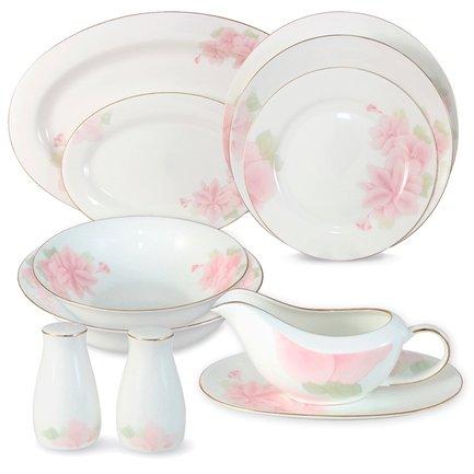 Emerald Обеденный сервиз Розовые цветы на 6 персон, 27 пр. E5-HV004011_27-AL Emerald невидимка для волос funny bunny розовые цветы 2 шт