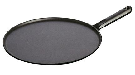 Сковорода для блинов с чугунной ручкой, 30 см, с приспособлением для размазывания и лопаткой