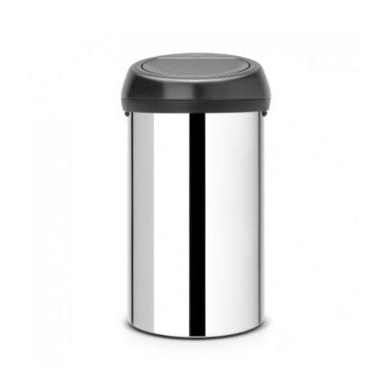 Brabantia Мусорный бак Touch Bin (60 л), 40х71.5 см, хром/черный 402586 Brabantia бак мусорный idea цвет зеленый 60 л м 2393