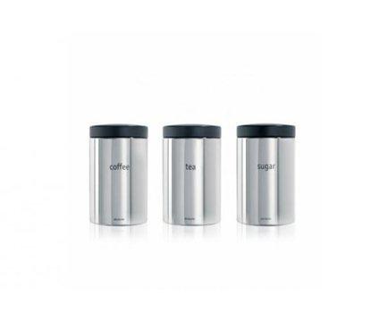Brabantia Набор контейнеров (1.4 л), стальные полированные, 3 шт. 204166 Brabantia brabantia набор контейнеров с окном 1 4 л матовые стальные 3 шт 335341 brabantia
